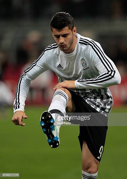 Alvaro Morata before the serie A match between AC Milan and Juventus FC at Giuseppe Meazza stadium on april 9 2016 in Milano italy
