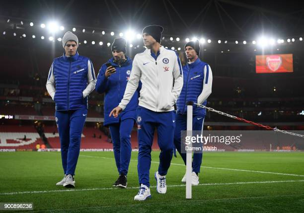 Alvaro Morata Davide Zappacosta Pedro and Willy Caballero of Chelsea prior to the Premier League match between Arsenal and Chelsea at Emirates...