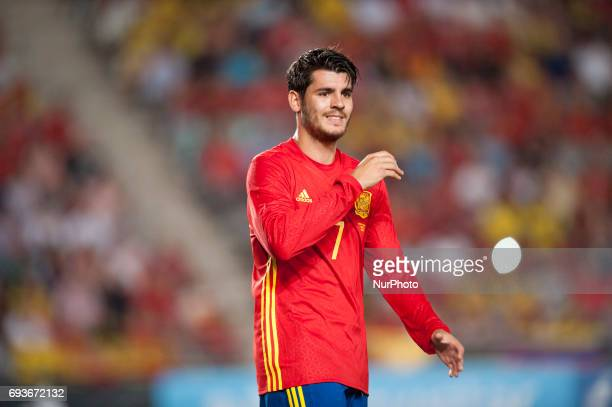 Alvaro Morata during a friendly match between national team of Spain vs Colombia in Nueva Condomina Stadium Murcia SpainWednesday June 7 2017