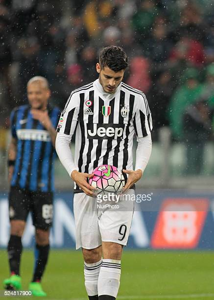 Alvaro Morata during the serie A match between Juventus FC and FC Internazionale Milano at the Juventus Stadium of Turin on february 28 2016 in...