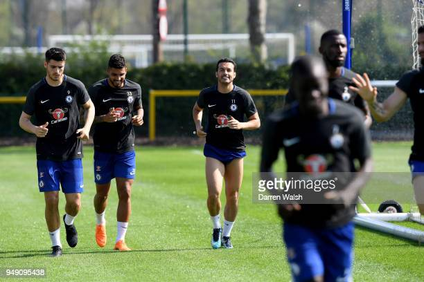 Alvaro Morata Emerson Palmieri and Charly Musonda of Chelsea during a training session at Chelsea Training Ground on April 20 2018 in Cobham England