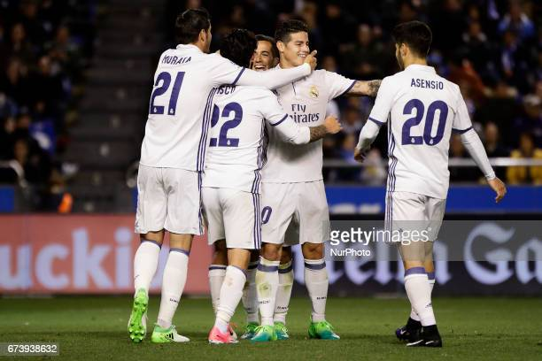 Alvaro Morata forward of Real Madrid Francisco Roman quotIscoquot midfielder of Real Madrid James Rodriguez midfielder of Real Madrid Marco Asensio...