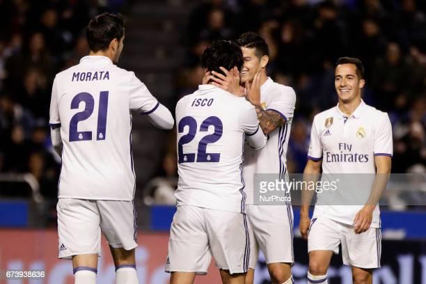 Alvaro Morata forward of Real Madrid Francisco Roman quotIscoquot midfielder of Real Madrid James Rodriguez midfielder of Real Madrid and Lucas...