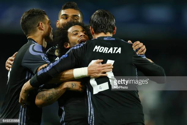 Alvaro Morata Marcelo and Pepe of Real Madrid celebration after the goal of 13 during the UEFA Champions League Round of 16 second leg match between...