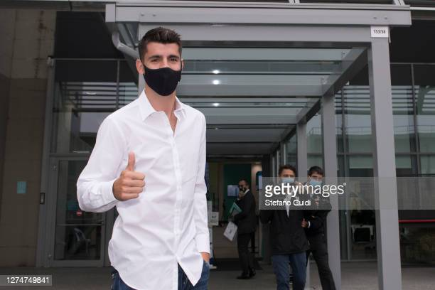 Alvaro Morata new player of Juventus FC wearing a protective mask pose for photo arrives at Jmedical for Juventus FC Medical Tests on September 22,...