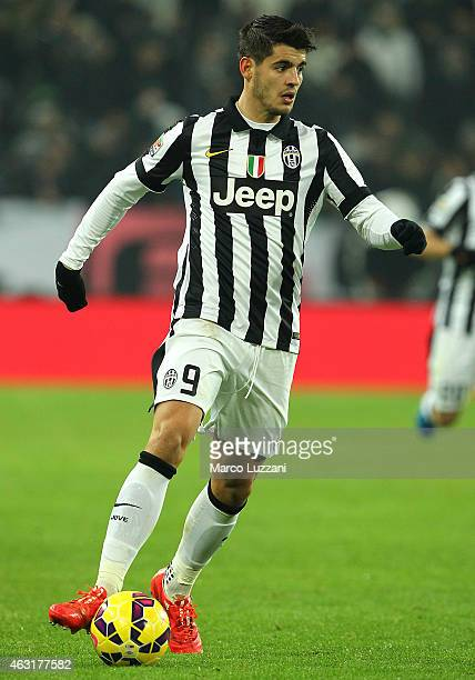 Alvaro Morata of AC Milan in action during the Serie A match between Juventus FC and AC Milan at Juventus Arena on February 7 2015 in Turin Italy