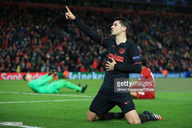 Alvaro Morata of Atletico celebrates scoring their 3rd goal during the UEFA Champions League round of 16 second leg match between Liverpool FC and...