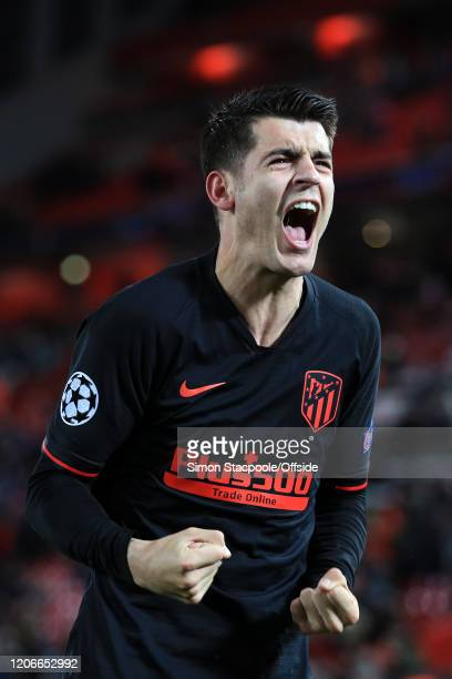 Alvaro Morata of Atletico celebrates their victory during the UEFA Champions League round of 16 second leg match between Liverpool FC and Atletico...