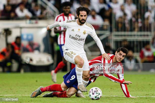 Alvaro Morata of Atletico de Madrid battles for the ball with Isco Alarcon of Real Madrid during the Supercopa de Espana Final match between Real...