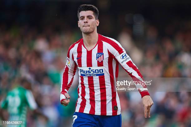 Alvaro Morata of Atletico de Madrid celebrates scoring his team's second goal during the Liga match between Real Betis Balompie and Club Atletico de...