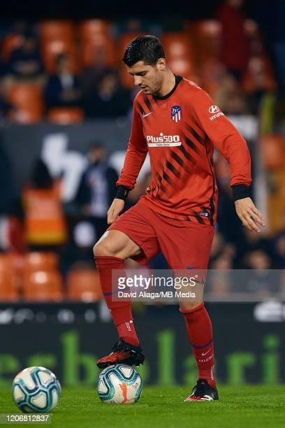 Alvaro Morata of Atletico de Madrid in action prior to the Liga match between Valencia CF and Club Atletico de Madrid at Estadio Mestalla on February...