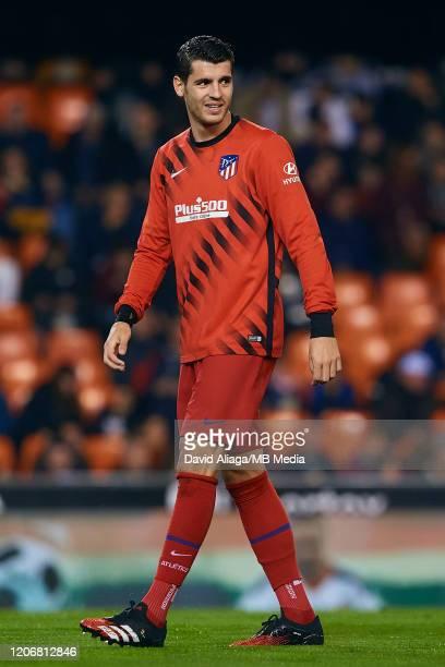 Alvaro Morata of Atletico de Madrid smiles prior to the Liga match between Valencia CF and Club Atletico de Madrid at Estadio Mestalla on February 14...