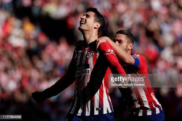 Alvaro Morata of Atletico Madrid celebrates after scoring his team's first goal during the La Liga match between Club Atletico de Madrid and...