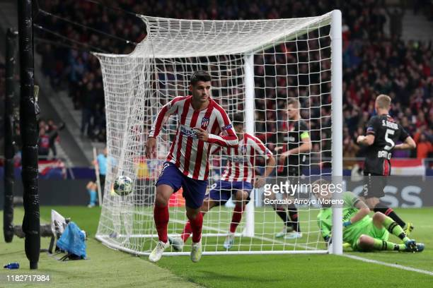 Alvaro Morata of Atletico Madrid celebrates after scoring his team's first goal during the UEFA Champions League group D match between Atletico...