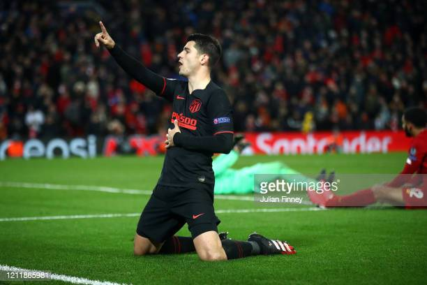Alvaro Morata of Atletico Madrid celebrates after scoring his team's third goal during the UEFA Champions League round of 16 second leg match between...