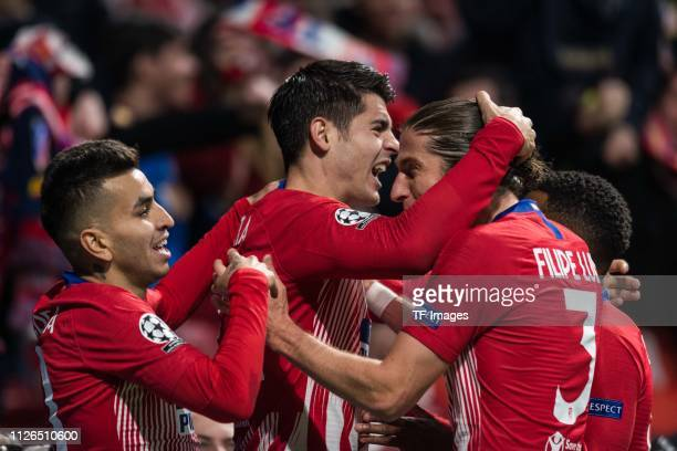Alvaro Morata of Atletico Madrid celebrates his goal before the referee invalidates it during the UEFA Champions League Round of 16 First Leg match...