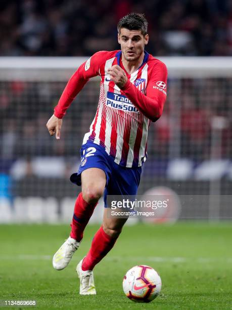 Alvaro Morata of Atletico Madrid during the La Liga Santander match between Atletico Madrid v Girona at the Estadio Wanda Metropolitano on April 2...