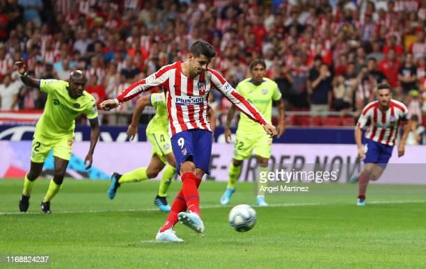 Alvaro Morata of Atletico Madrid misses a penalty during the Liga match between Club Atletico de Madrid and Getafe CF at Wanda Metropolitano on...