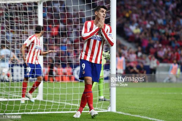 Alvaro Morata of Atletico Madrid reacts after failing to score from a header during the Liga match between Club Atletico de Madrid and RC Celta de...