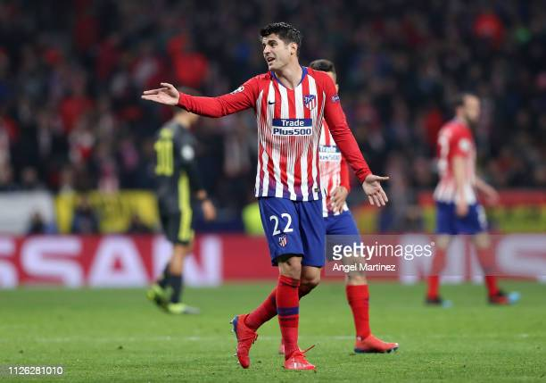 Alvaro Morata of Atletico Madrid reacts to his team's first goal being disallowed by VAR during the UEFA Champions League Round of 16 First Leg match...