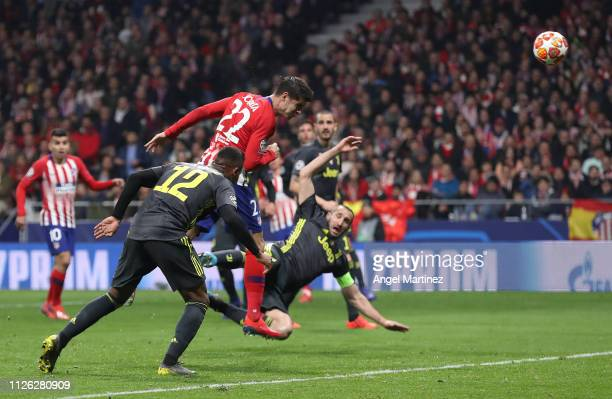 Alvaro Morata of Atletico Madrid scores his team's first goal which is later ruled out by VAR during the UEFA Champions League Round of 16 First Leg...
