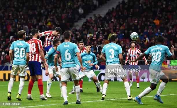 Alvaro Morata of Atletico Madrid scores the opening goal during the Liga match between Club Atletico de Madrid and CA Osasuna at Wanda Metropolitano...