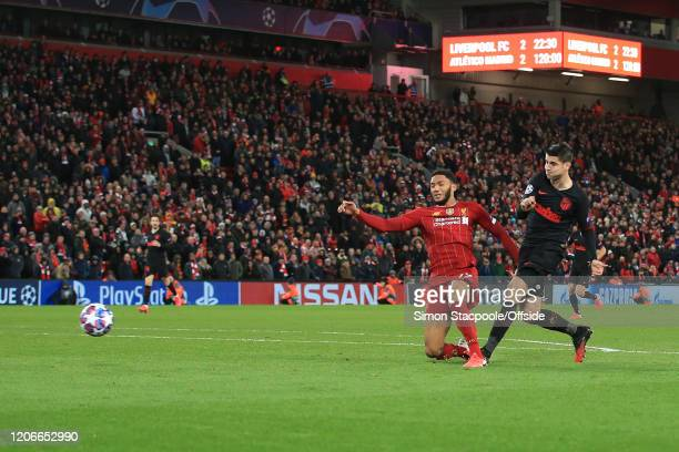 Alvaro Morata of Atletico scores their 3rd goal during the UEFA Champions League round of 16 second leg match between Liverpool FC and Atletico...