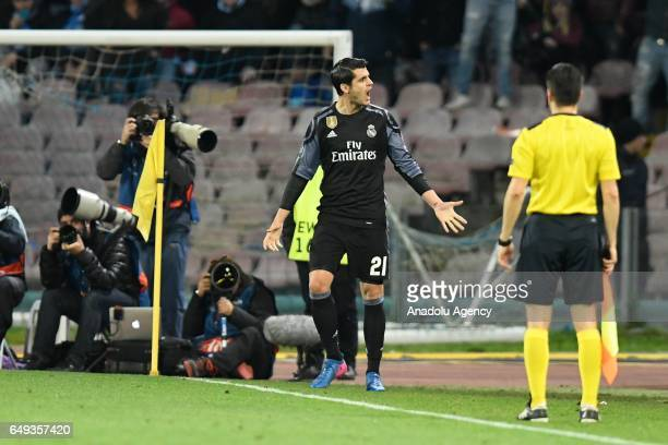 Alvaro Morata of CF Real Madrid celebrates after scoring the second goal during the UEFA Champions League Round of 16 second leg match between SSC...