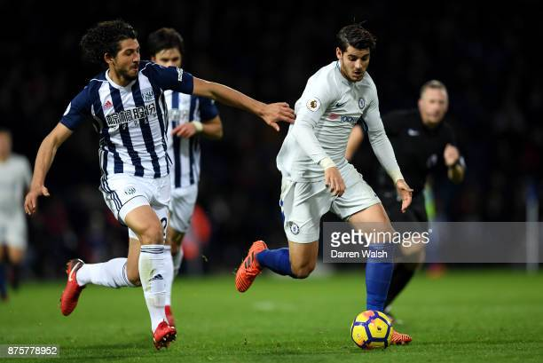 Alvaro Morata of Chelsea and Ahmed ElSayed Hegazi of West Bromwich Albion compete for the ball during the Premier League match between West Bromwich...