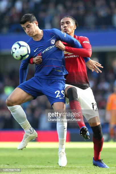 Alvaro Morata of Chelsea and Chris Smalling of Man Utd during the Premier League match between Chelsea FC and Manchester United at Stamford Bridge on...