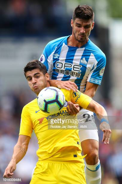 Alvaro Morata of Chelsea and Christopher Schindler of Huddersfield Town during the Premier League match between Huddersfield Town and Chelsea FC at...