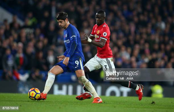 Alvaro Morata of Chelsea and Eric Bailly of Manchester United during the Premier League match between Chelsea and Manchester United at Stamford...