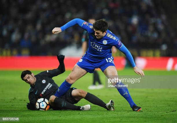 Alvaro Morata of Chelsea and Harry Maguire of Leicester City battle for the ball during The Emirates FA Cup Quarter Final match between Leicester...
