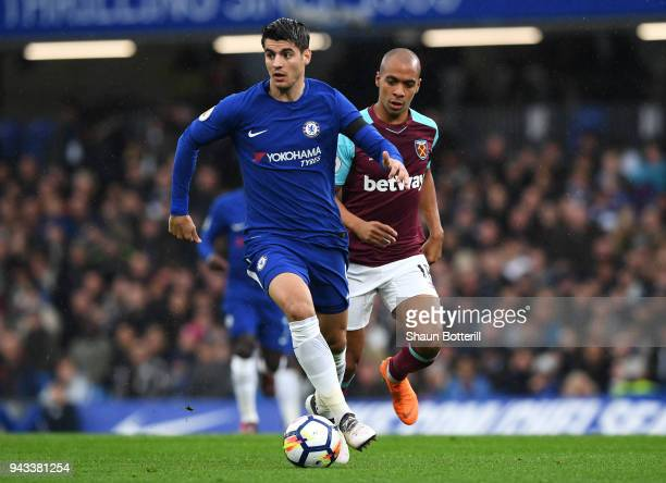 Alvaro Morata of Chelsea and Joao Mario of West Ham United in action during the Premier League match between Chelsea and West Ham United at Stamford...