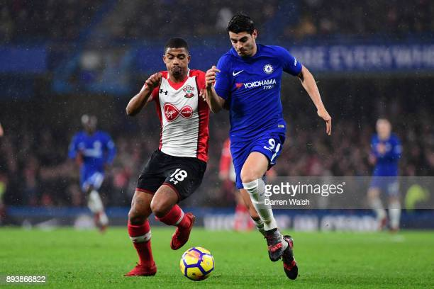 Alvaro Morata of Chelsea and Mario Lemina of Southampton battle for posession during the Premier League match between Chelsea and Southampton at...