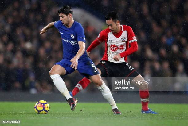 Alvaro Morata of Chelsea and Maya Yoshida of Southampton during the Premier League match between Chelsea and Southampton at Stamford Bridge on...