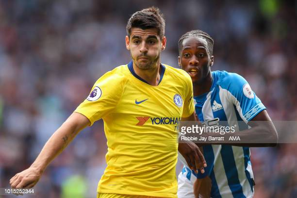 Alvaro Morata of Chelsea and Terence Kongolo of Huddersfield Town during the Premier League match between Huddersfield Town and Chelsea FC at John...