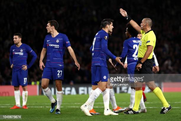 Alvaro Morata of Chelsea appeals to referee Miroslav Zelinka during the UEFA Europa League Group L match between Chelsea and Vidi FC at Stamford...