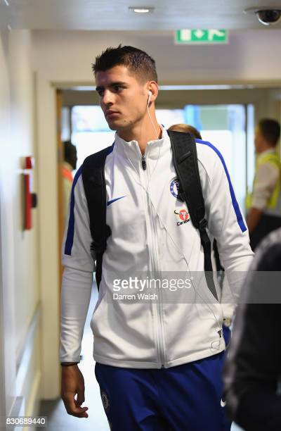 Alvaro Morata of Chelsea arrives at the stadium prior to the Premier League match between Chelsea and Burnley at Stamford Bridge on August 12 2017 in...