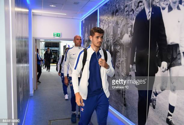 Alvaro Morata of Chelsea arrives at the stadium prior to the Premier League match between Leicester City and Chelsea at The King Power Stadium on...