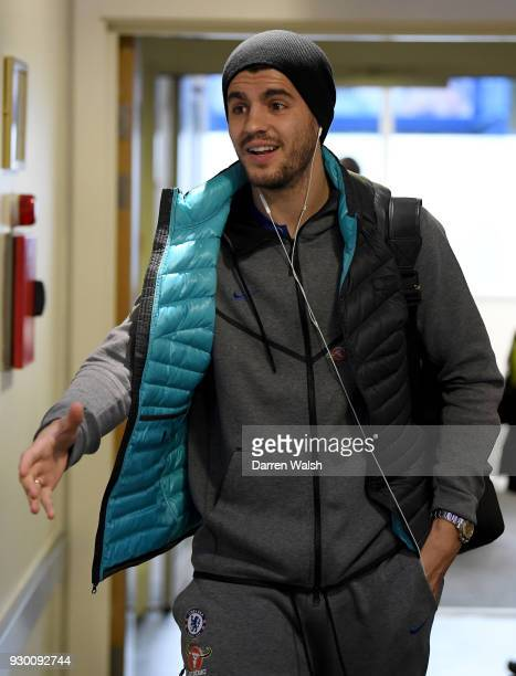 Alvaro Morata of Chelsea arrives at the stadium prior to the Premier League match between Chelsea and Crystal Palace at Stamford Bridge on March 10...