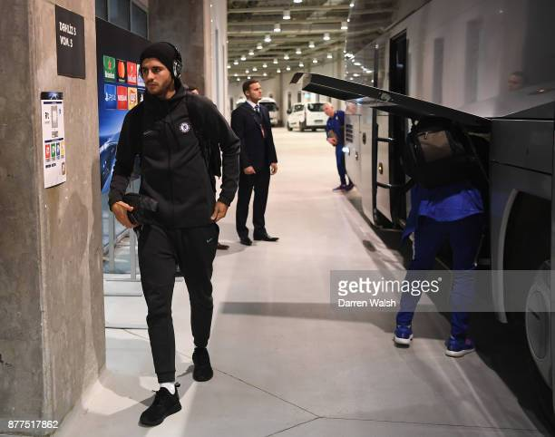 Alvaro Morata of Chelsea arrives for the UEFA Champions League group C match between Qarabag FK and Chelsea FC at Baki Olimpiya Stadionu on November...
