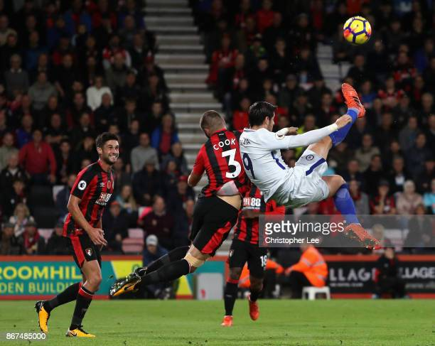 Alvaro Morata of Chelsea attempts a overhead kick during the Premier League match between AFC Bournemouth and Chelsea at Vitality Stadium on October...