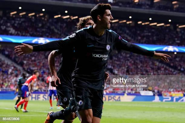 Alvaro Morata of Chelsea celebrates after he scores his sides first goal during the UEFA Champions League group C match between Atletico Madrid and...