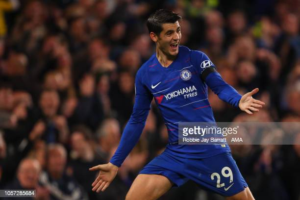 Alvaro Morata of Chelsea celebrates after scoring a goal to make it 21 during the Premier League match between Chelsea FC and Crystal Palace at...