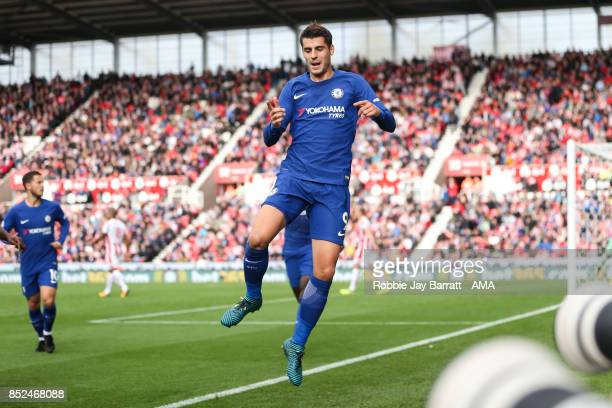 Alvaro Morata of Chelsea celebrates after scoring a goal to make it 03 during the Premier League match between Stoke City and Chelsea at Bet365...