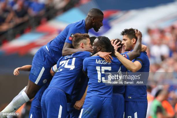 Alvaro Morata of Chelsea celebrates after scoring a goal to make it 20 during The Emirates FA Cup Semi Final match between Chelsea and Southampton at...