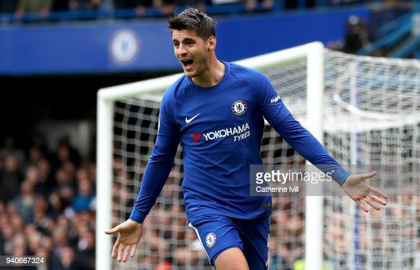 Alvaro Morata of Chelsea celebrates after scoring his sides first goal during the Premier League match between Chelsea and Tottenham Hotspur at...