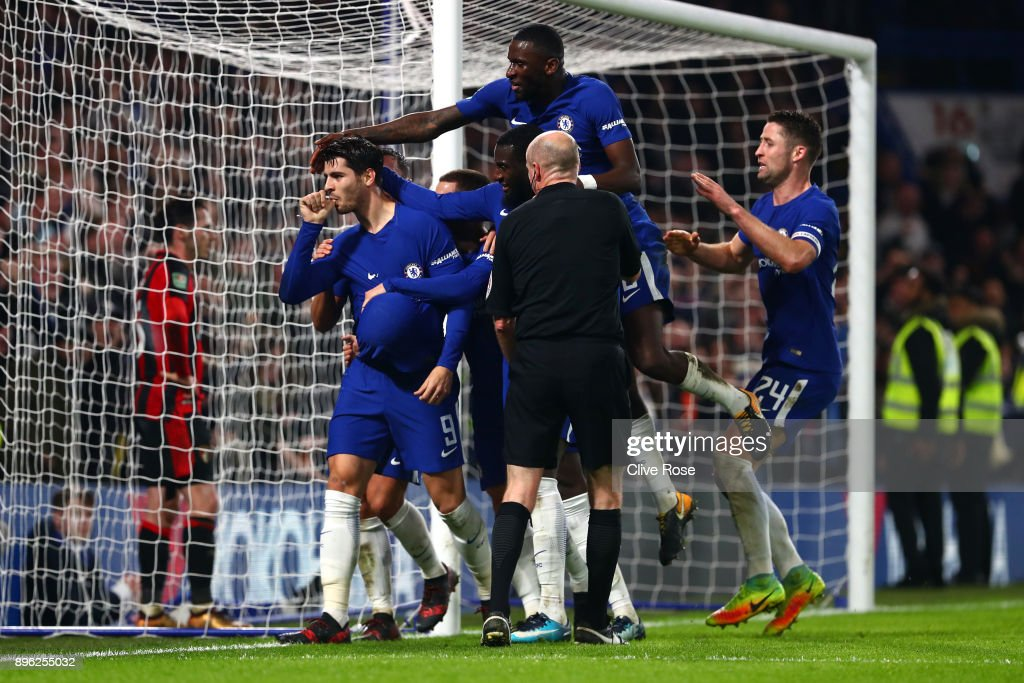 Alvaro Morata of Chelsea celebrates after scoring his sides second goal during the Carabao Cup Quarter-Final match between Chelsea and AFC Bournemouth at Stamford Bridge on December 20, 2017 in London, England.