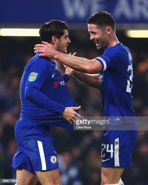Alvaro Morata of Chelsea celebrates after scoring his sides second goal with Gary Cahill of Chelsea during the Carabao Cup QuarterFinal match between...